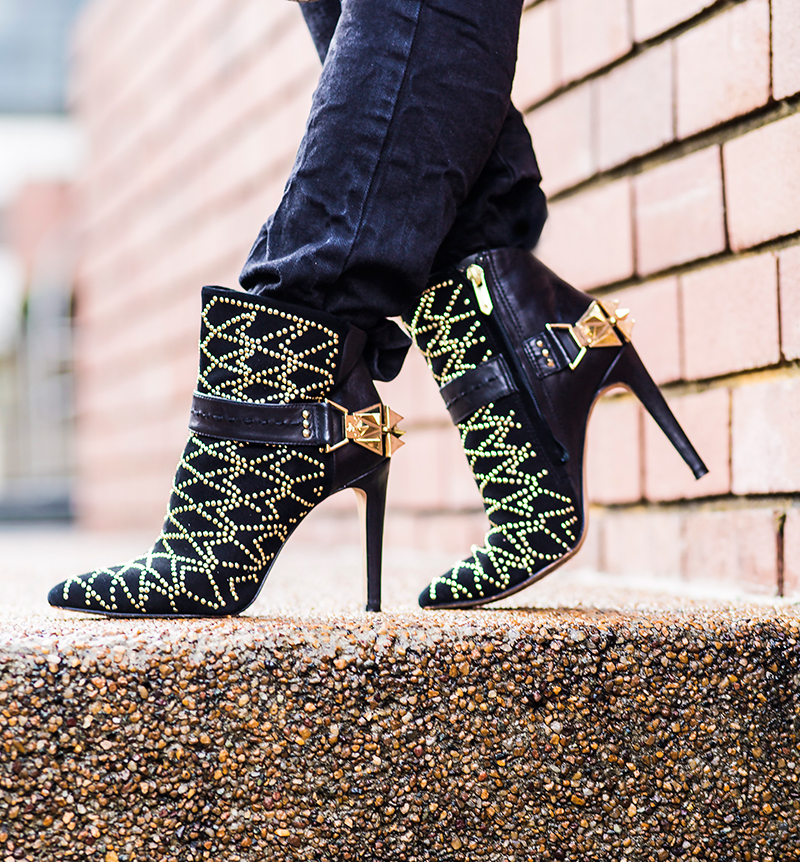 Crystal Phuong- Sam Edelman black studded booties