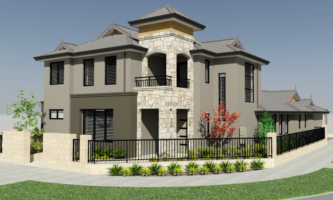 Two story house plans for corner lots for Perfect for corner lot house plans