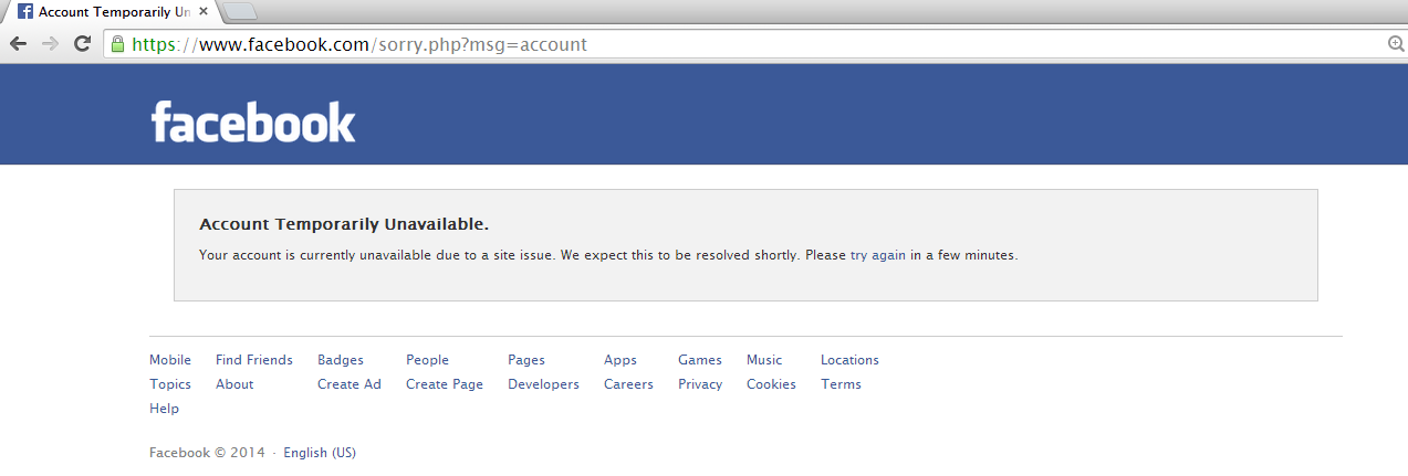 Facebook dontime, facebook is down
