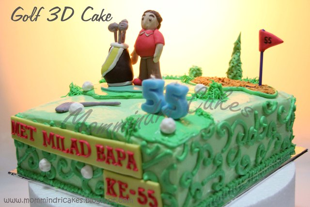 Mommindri Cakes Red Velvet Cake tema Golf 3D