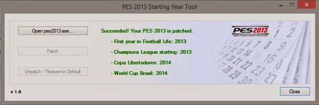 PES 2013 Starting Year Tool by Xeor