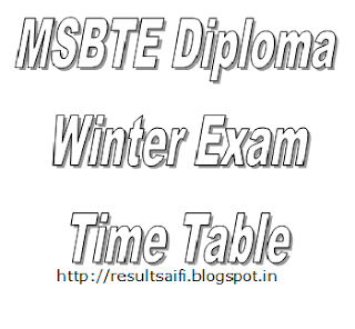 MSBTE Winter Time Table