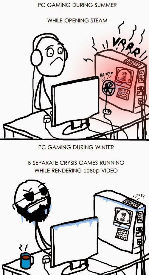 gamers en verano vs gamers en invierno