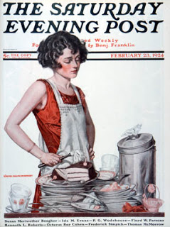 old advertisement woman doing dirty dishes