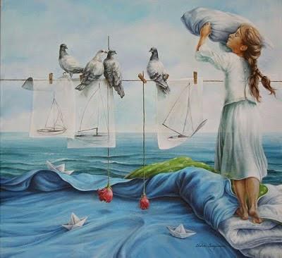 pintura de pombo e criança