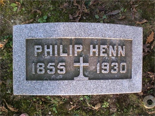 Climbing My Family Tree: Philip Henn Gravestone (shared to Ancestry.com by Reckinger)