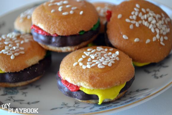 Mini Hamburger Cookies on a plate