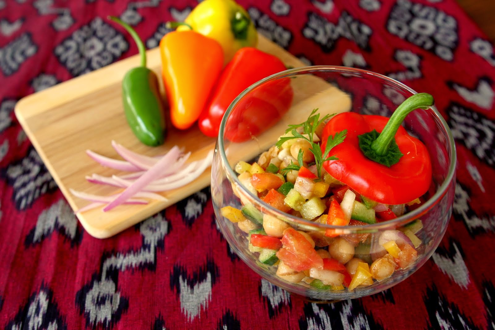 Indian Chick Peas Salad with Mango Powder (Chana chaat)
