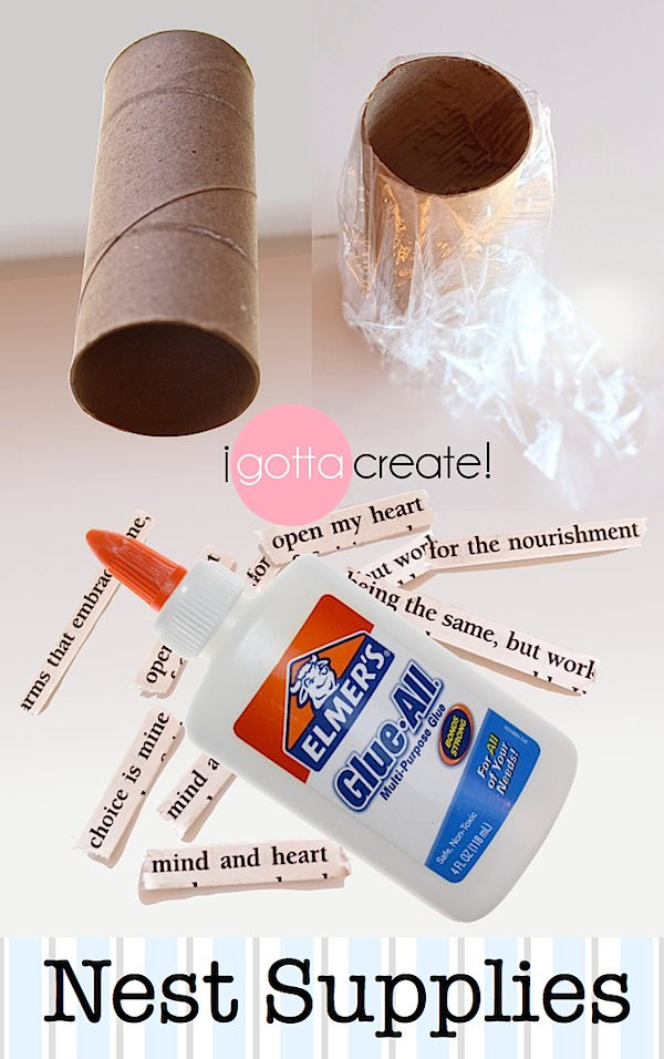 Supplies for making Spring nests from strips of newspaper or magazines. | Spring #Nest Tutorial at I Gotta Create!