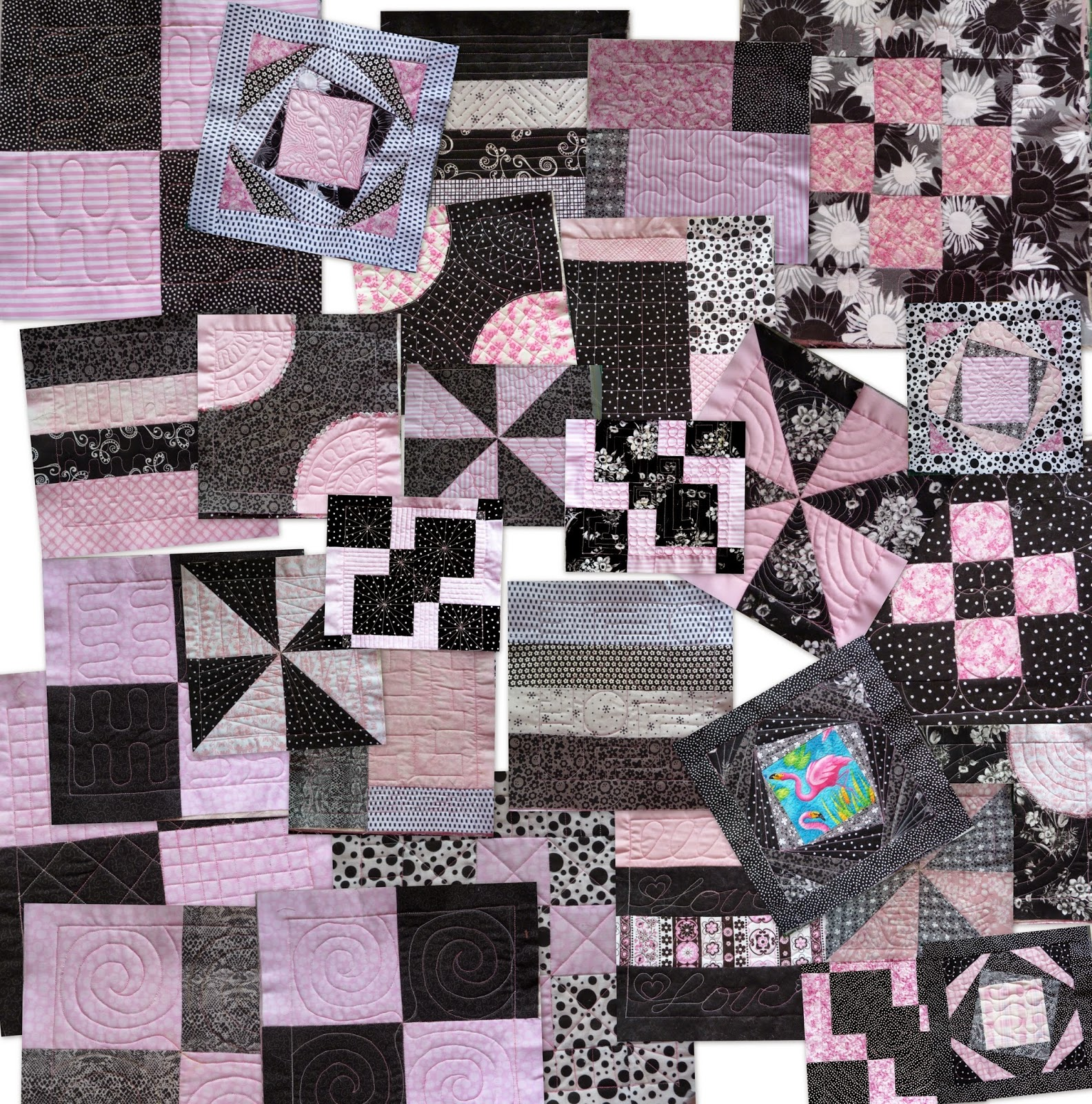 Black and white and pink all over quilt