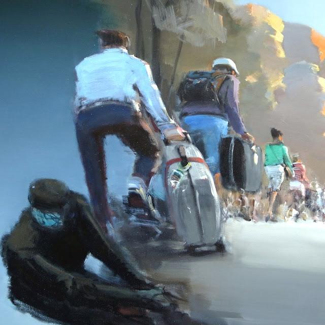 Udsnit af 'I drift' fra Poul Anker Bech triptykon 'Det tabte land'