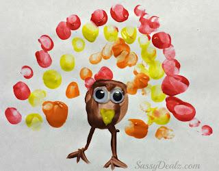 fingerprint turkey craft for kids at thanksgiving