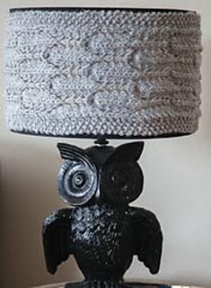 Вязаный абажур на лампу