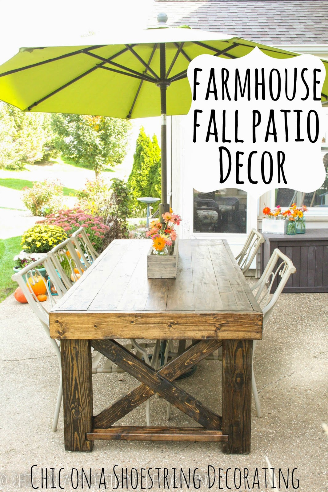 chic on a shoestring decorating: farmhouse fall patio decor