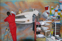 Samochody malowane na ścianie, aranżacja pokoju młodzieżowego, Poznań