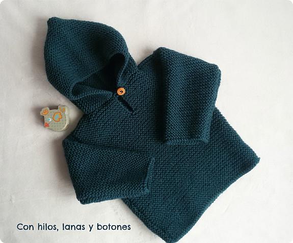 Jersey con capucha para beb paso a paso con hilos lanas y botones - Tejer chaqueta bebe 6 meses ...
