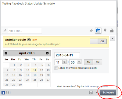 How to schedule facebook post in Advance