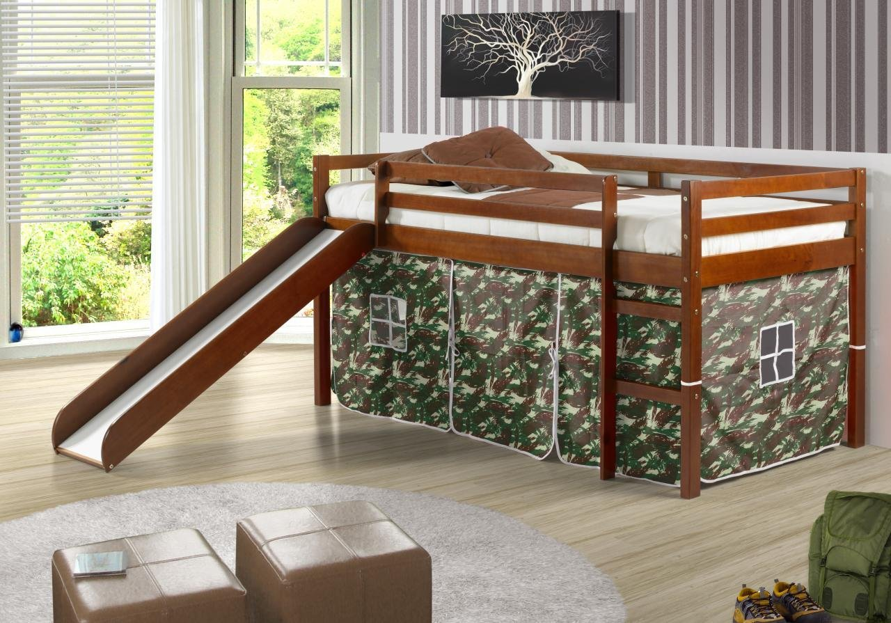 Total Fab Toddler Low Loft Bunk Beds with Slide for Boys