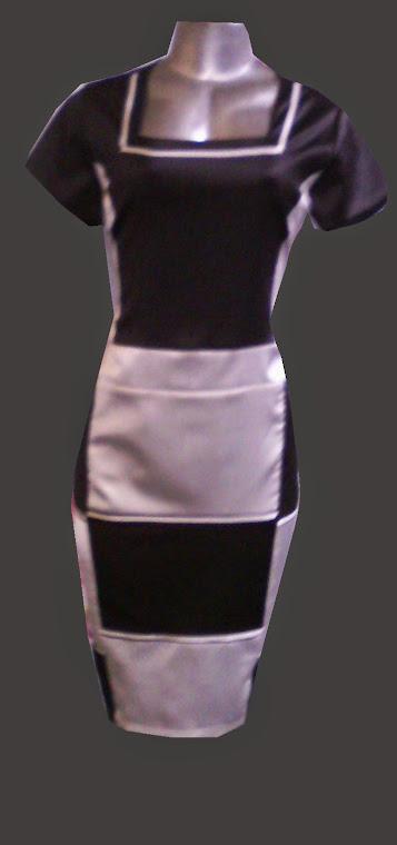 vestido pretoe branco de  cetim