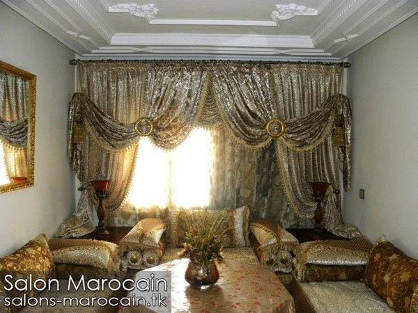 Salon et rideaux marocain harmonieux 2014