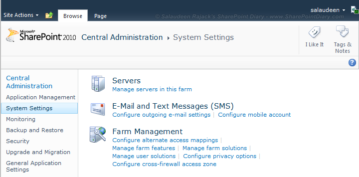 SharePoint 2010 Central Administration Links Missing