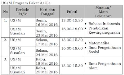 Jadwal Pelaksanaan UAS Paket A/ Ula 2016