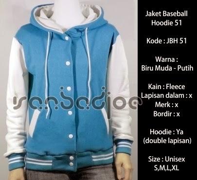 Jaket Baseball Hoodie Biru Muda Putih 51