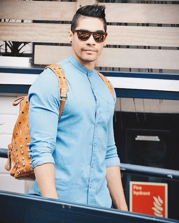 Louis Smith MCM Studded backpack London June 2014
