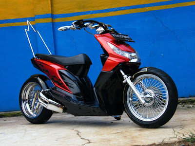modifikasi honda beat low rider merah