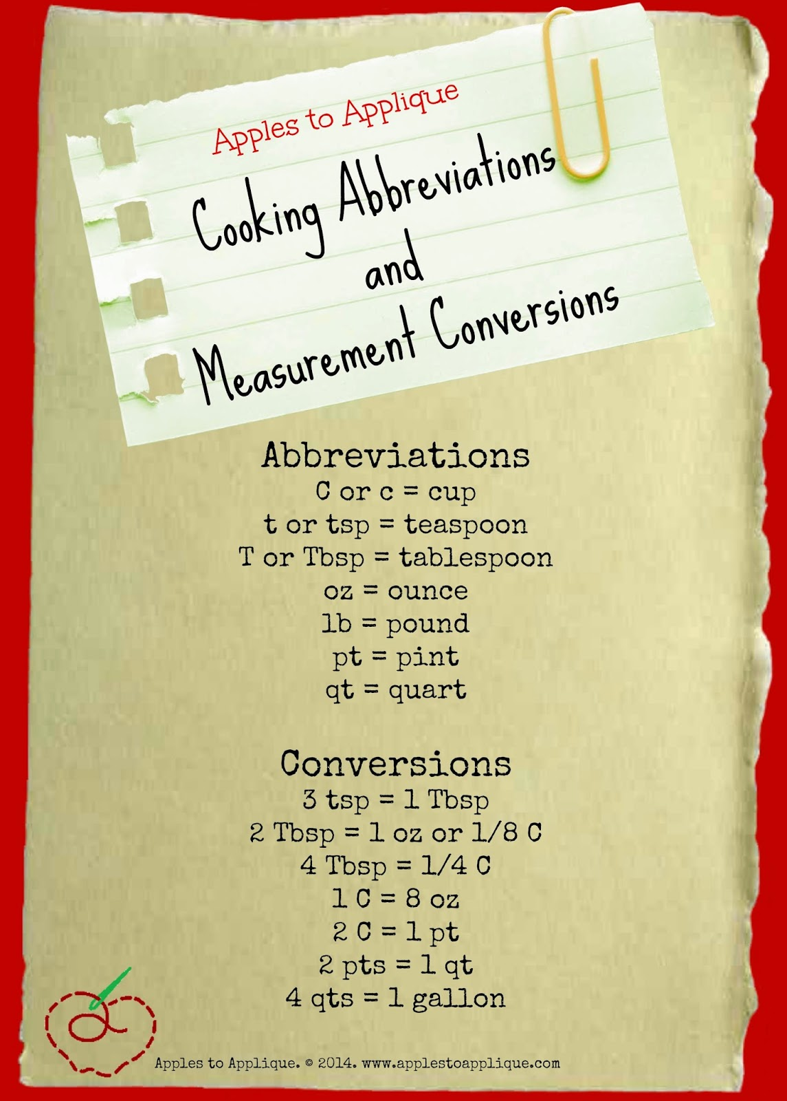 Cooking Abbreviations and Measurement Conversions | Apples to Applique