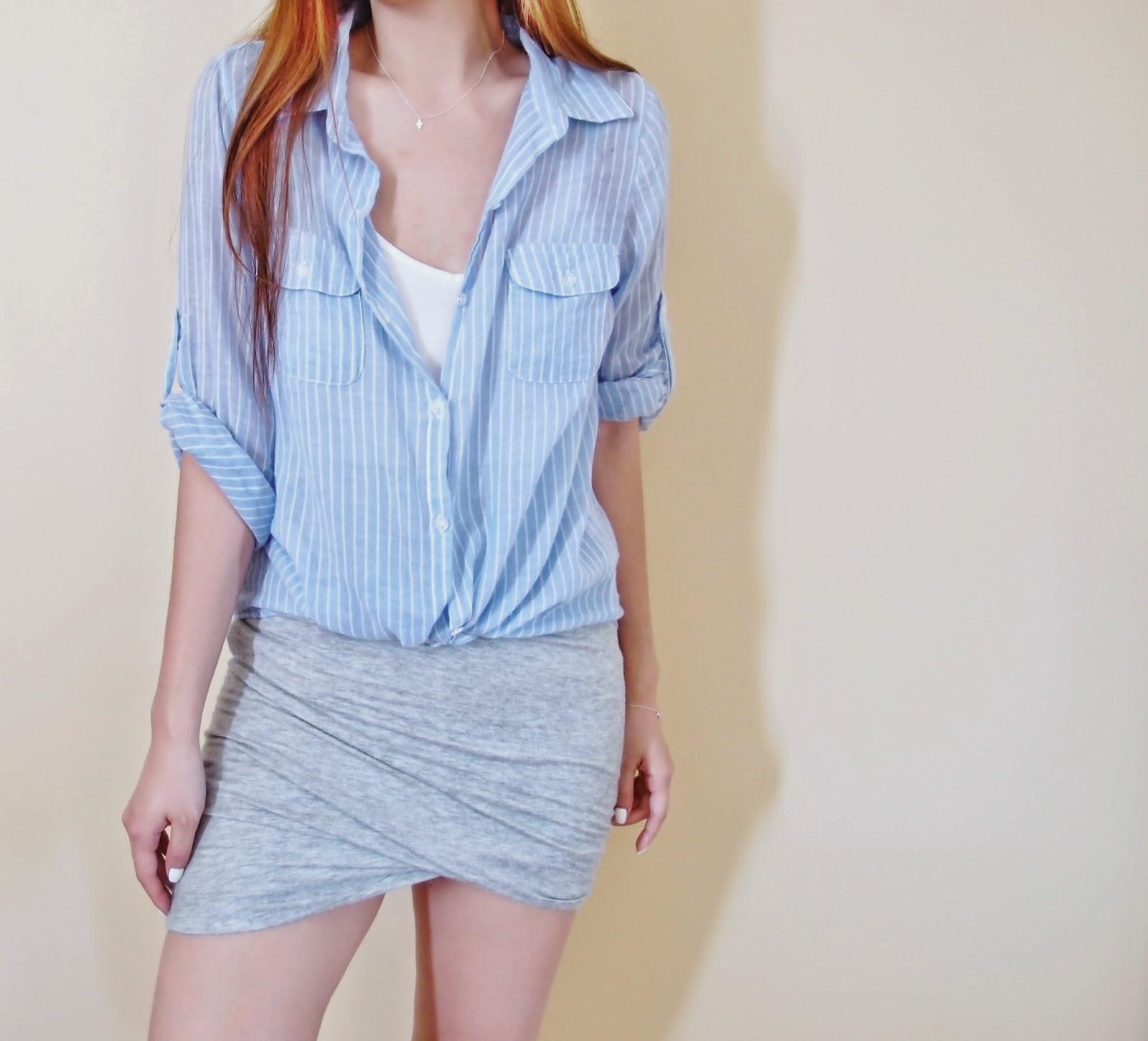 Striped Linen Shirt + Twist Skirt
