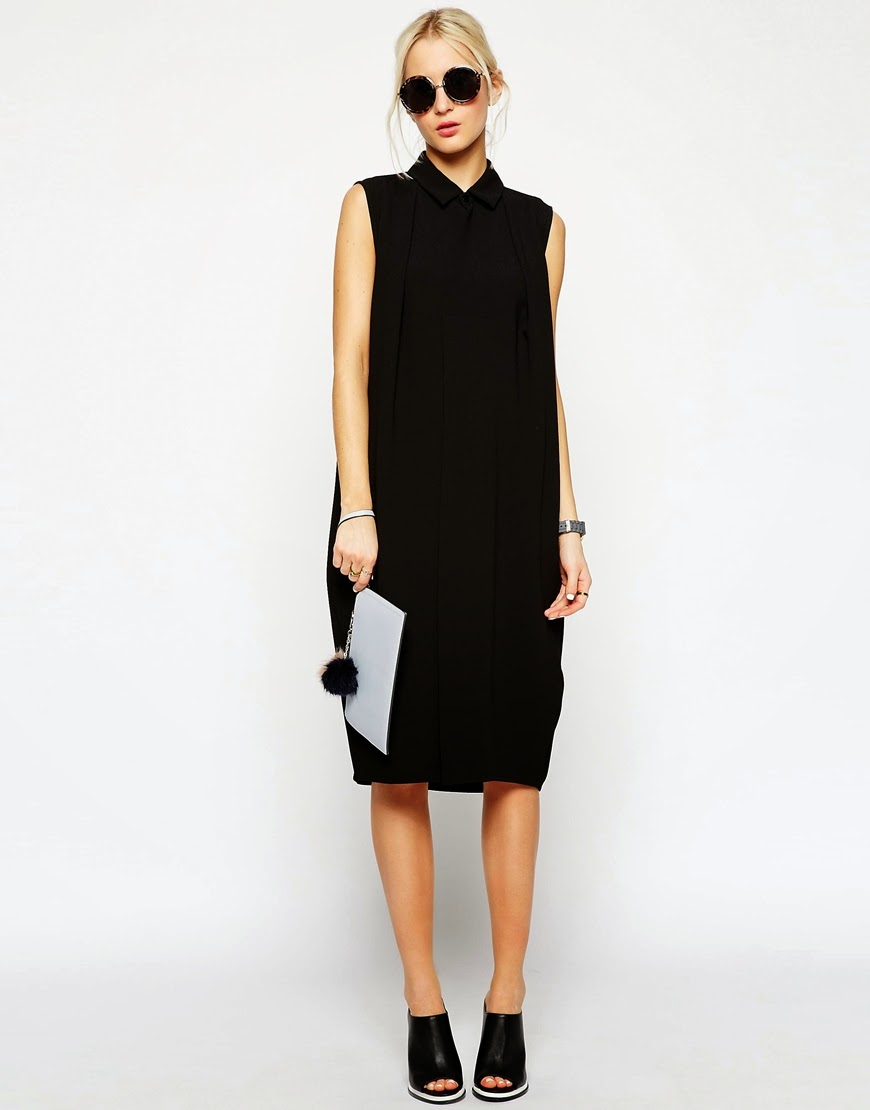 asos white black shirt dress, sleeveless black shirt dress,