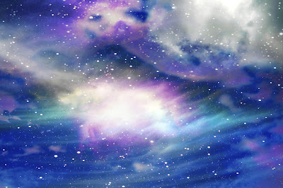 blue peurple clouds with stars