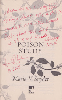 the title page Poison Study, marked up by Maria V. Snyder