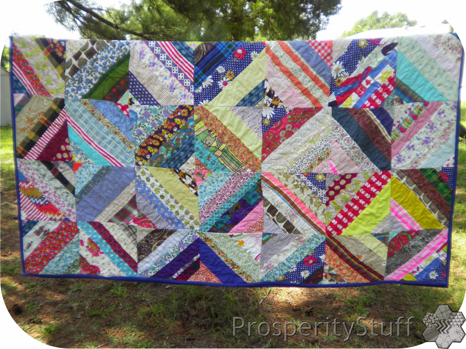Finished Foundation-Pieced Scrap Quilt on the Clothesline