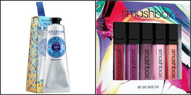stocking stuffer loccitane hand cream smashbox art love color lip set