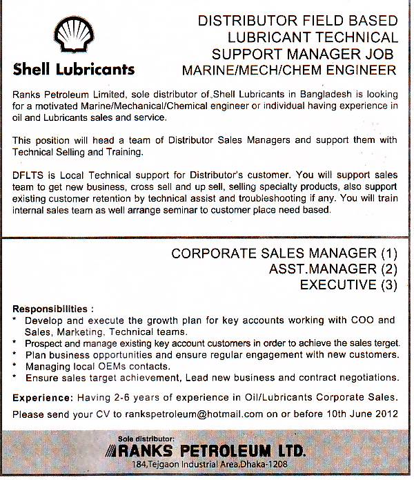 Job All Find: Ranks petroleum Ltd, Post: Corporate sales Manager ...