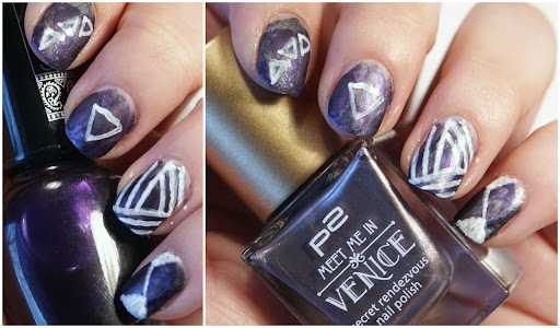 White triangles on lilac smooshattack nails