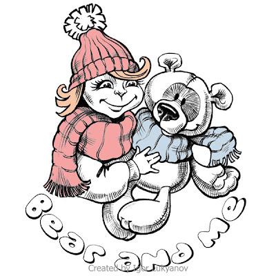 dessin de logo - une petite fille avec un nounours (ours en peluche)