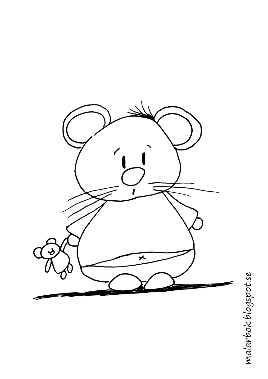 målarbild mus med nalle