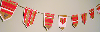 Valentine's Day bunting hanging on a wall