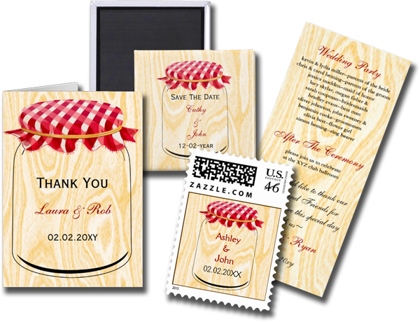 Country Gingham Cover Mason Jar Wedding Invitation