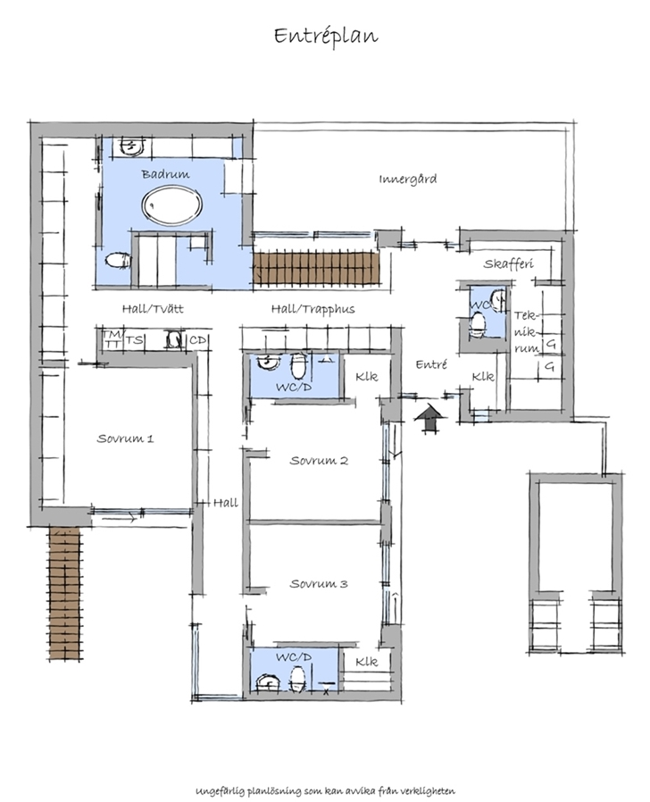 Ground floor plan of Modern beach house in Sweden
