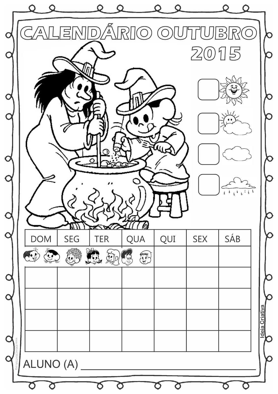 Calendário Turma da Mônica 2015 para Imprimir Outubro Halloween sem numeração
