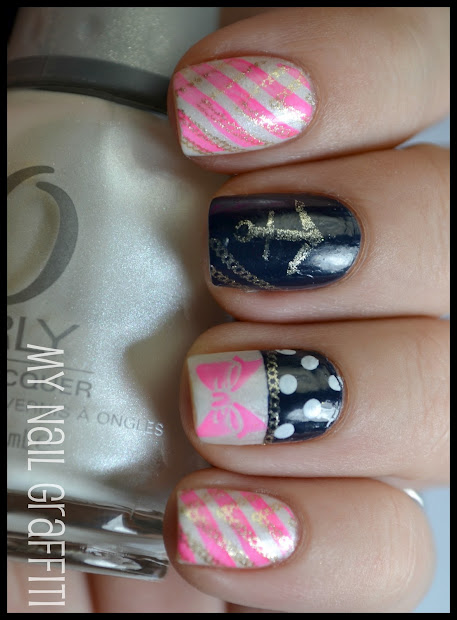 nail graffiti girly nautical