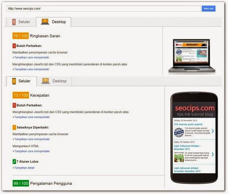 Mengetahui kecepatan blog dengan PageSpeed Insight