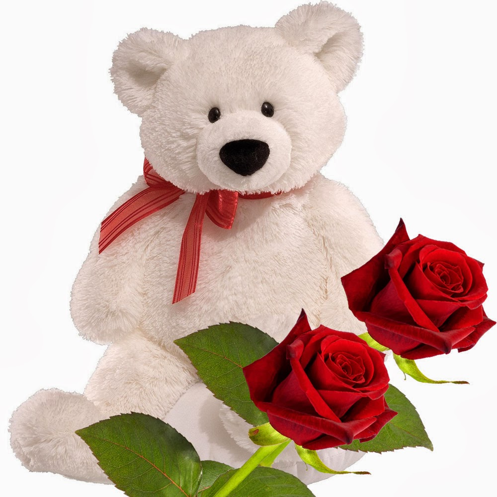 Teddy bear with pink roses - photo#9