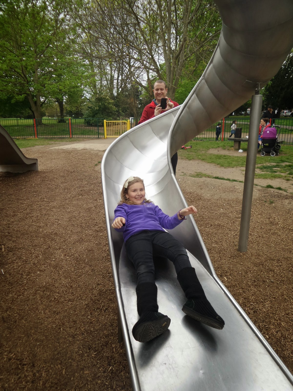 Top Ender on the Slide at Russell Park, Bedford