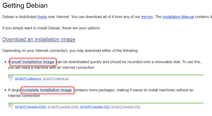 Pilihan download installer Debian