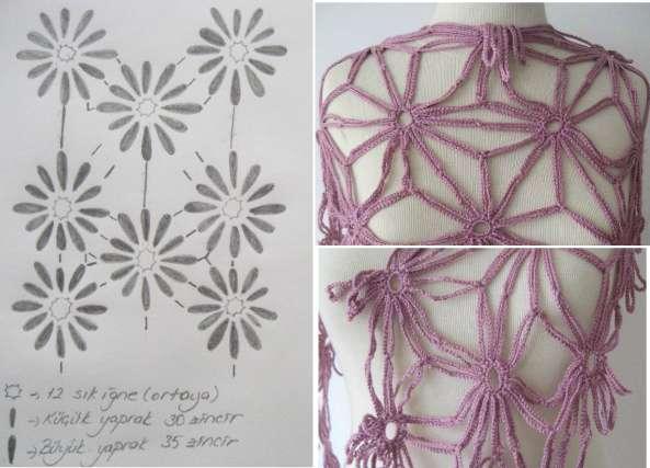 Chal de flores de cadeneta